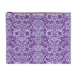 DAMASK2 WHITE MARBLE & PURPLE DENIM Cosmetic Bag (XL) Front