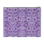 DAMASK2 WHITE MARBLE & PURPLE DENIM Cosmetic Bag (XL) Back