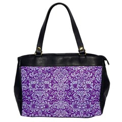 Damask2 White Marble & Purple Denim Office Handbags