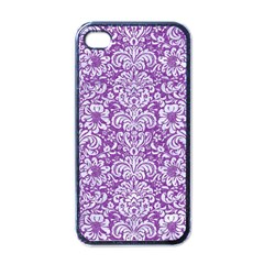 Damask2 White Marble & Purple Denim Apple Iphone 4 Case (black) by trendistuff
