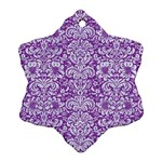 DAMASK2 WHITE MARBLE & PURPLE DENIM Ornament (Snowflake) Front
