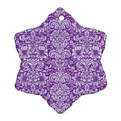 Damask2 White Marble & Purple Denim Snowflake Ornament (two Sides) by trendistuff