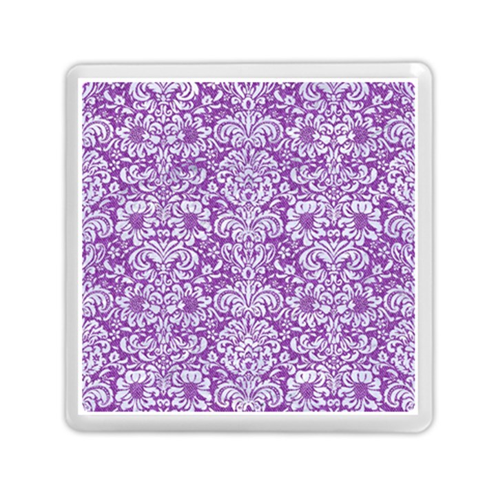 DAMASK2 WHITE MARBLE & PURPLE DENIM Memory Card Reader (Square)