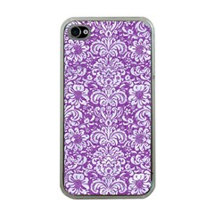Damask2 White Marble & Purple Denim Apple Iphone 4 Case (clear) by trendistuff