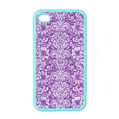 Damask2 White Marble & Purple Denim Apple Iphone 4 Case (color) by trendistuff