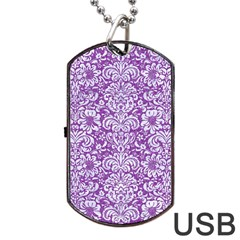 Damask2 White Marble & Purple Denim Dog Tag Usb Flash (two Sides)