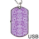 DAMASK2 WHITE MARBLE & PURPLE DENIM Dog Tag USB Flash (Two Sides) Front