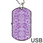 DAMASK2 WHITE MARBLE & PURPLE DENIM Dog Tag USB Flash (Two Sides) Back