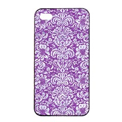Damask2 White Marble & Purple Denim Apple Iphone 4/4s Seamless Case (black)