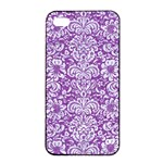 DAMASK2 WHITE MARBLE & PURPLE DENIM Apple iPhone 4/4s Seamless Case (Black) Front