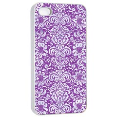 Damask2 White Marble & Purple Denim Apple Iphone 4/4s Seamless Case (white) by trendistuff