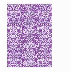 Damask2 White Marble & Purple Denim Large Garden Flag (two Sides)
