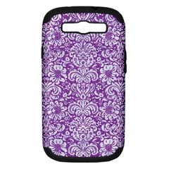 Damask2 White Marble & Purple Denim Samsung Galaxy S Iii Hardshell Case (pc+silicone) by trendistuff