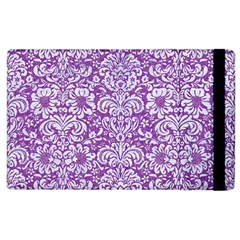 Damask2 White Marble & Purple Denim Apple Ipad 3/4 Flip Case