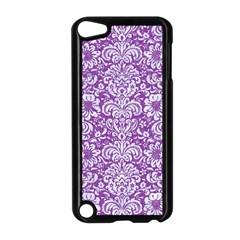 Damask2 White Marble & Purple Denim Apple Ipod Touch 5 Case (black) by trendistuff