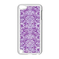 Damask2 White Marble & Purple Denim Apple Ipod Touch 5 Case (white) by trendistuff