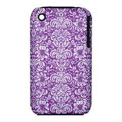 Damask2 White Marble & Purple Denim Iphone 3s/3gs by trendistuff