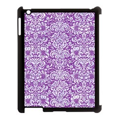 Damask2 White Marble & Purple Denim Apple Ipad 3/4 Case (black)