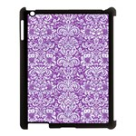 DAMASK2 WHITE MARBLE & PURPLE DENIM Apple iPad 3/4 Case (Black) Front