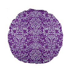 Damask2 White Marble & Purple Denim Standard 15  Premium Round Cushions by trendistuff