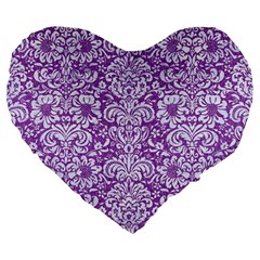 Damask2 White Marble & Purple Denim Large 19  Premium Heart Shape Cushions by trendistuff