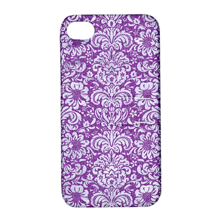 DAMASK2 WHITE MARBLE & PURPLE DENIM Apple iPhone 4/4S Hardshell Case with Stand