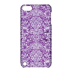 Damask2 White Marble & Purple Denim Apple Ipod Touch 5 Hardshell Case With Stand by trendistuff