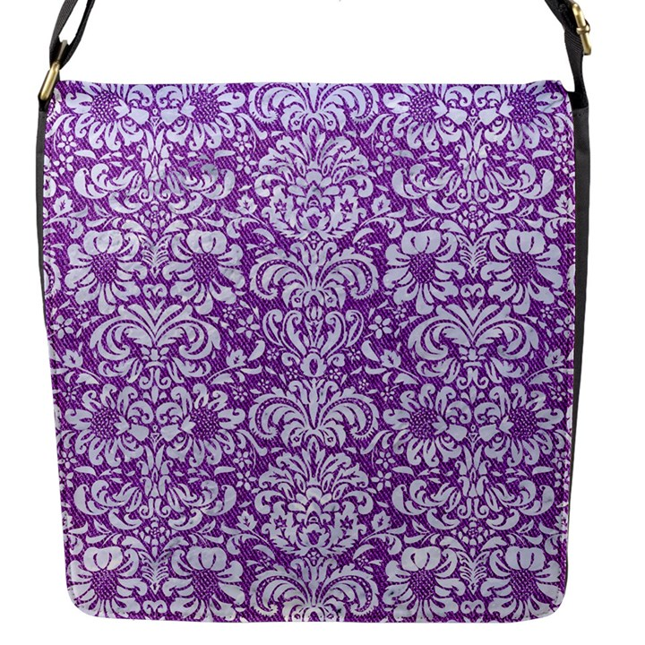 DAMASK2 WHITE MARBLE & PURPLE DENIM Flap Messenger Bag (S)