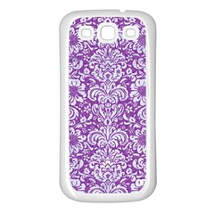 Damask2 White Marble & Purple Denim Samsung Galaxy S3 Back Case (white) by trendistuff
