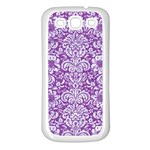 DAMASK2 WHITE MARBLE & PURPLE DENIM Samsung Galaxy S3 Back Case (White) Front