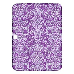 Damask2 White Marble & Purple Denim Samsung Galaxy Tab 3 (10 1 ) P5200 Hardshell Case