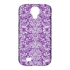 Damask2 White Marble & Purple Denim Samsung Galaxy S4 Classic Hardshell Case (pc+silicone)