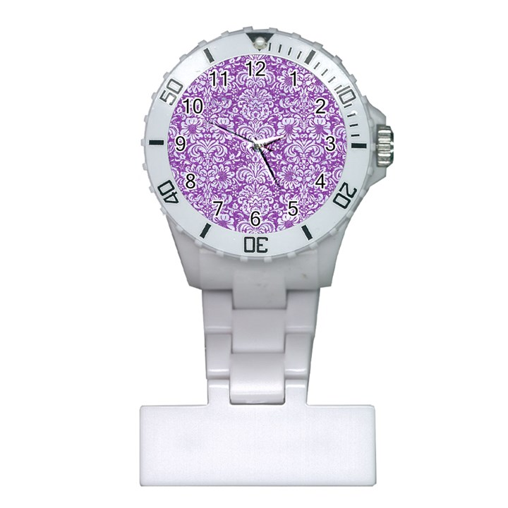 DAMASK2 WHITE MARBLE & PURPLE DENIM Plastic Nurses Watch