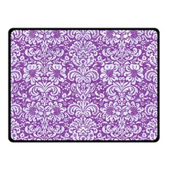 Damask2 White Marble & Purple Denim Double Sided Fleece Blanket (small)  by trendistuff