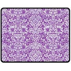 Damask2 White Marble & Purple Denim Double Sided Fleece Blanket (medium)  by trendistuff