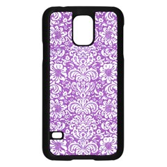 Damask2 White Marble & Purple Denim Samsung Galaxy S5 Case (black) by trendistuff