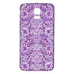 Damask2 White Marble & Purple Denim Samsung Galaxy S5 Back Case (white) by trendistuff