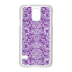Damask2 White Marble & Purple Denim Samsung Galaxy S5 Case (white)