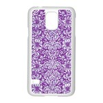 DAMASK2 WHITE MARBLE & PURPLE DENIM Samsung Galaxy S5 Case (White) Front