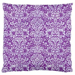 Damask2 White Marble & Purple Denim Large Flano Cushion Case (one Side) by trendistuff