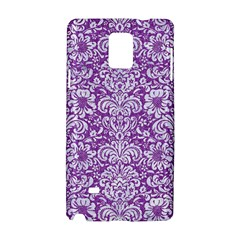 Damask2 White Marble & Purple Denim Samsung Galaxy Note 4 Hardshell Case