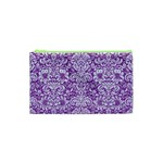 DAMASK2 WHITE MARBLE & PURPLE DENIM Cosmetic Bag (XS) Front