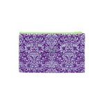 DAMASK2 WHITE MARBLE & PURPLE DENIM Cosmetic Bag (XS) Back