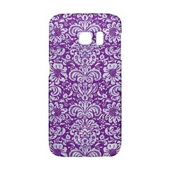 Damask2 White Marble & Purple Denim Galaxy S6 Edge by trendistuff