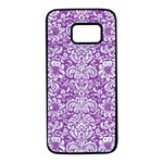 DAMASK2 WHITE MARBLE & PURPLE DENIM Samsung Galaxy S7 Black Seamless Case Front