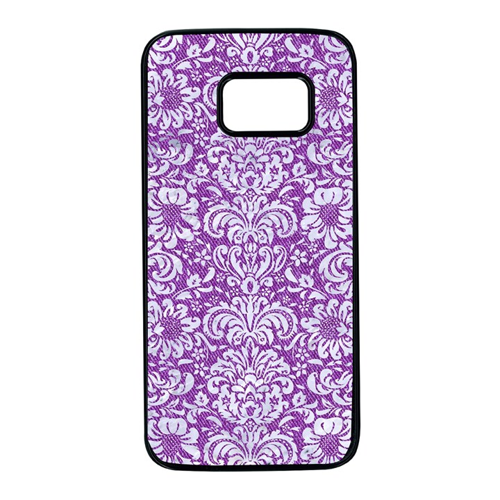 DAMASK2 WHITE MARBLE & PURPLE DENIM Samsung Galaxy S7 Black Seamless Case