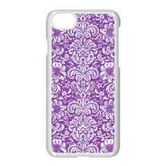 Damask2 White Marble & Purple Denim Apple Iphone 8 Seamless Case (white) by trendistuff