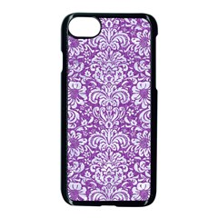 Damask2 White Marble & Purple Denim Apple Iphone 8 Seamless Case (black) by trendistuff