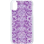 DAMASK2 WHITE MARBLE & PURPLE DENIM Apple iPhone X Seamless Case (White) Front