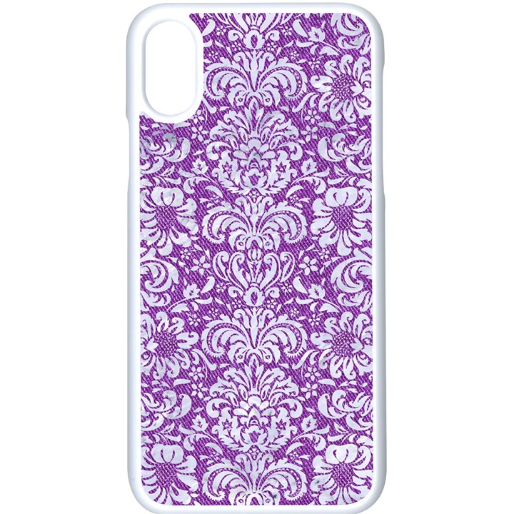 DAMASK2 WHITE MARBLE & PURPLE DENIM Apple iPhone X Seamless Case (White)